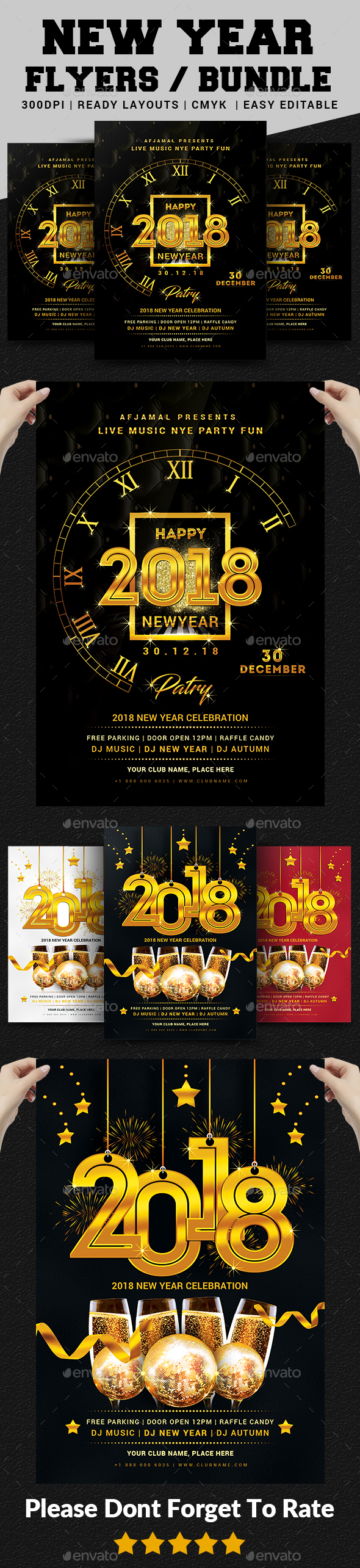 GraphicRiver 2018 New Year Party Flyer Bundle 20990007