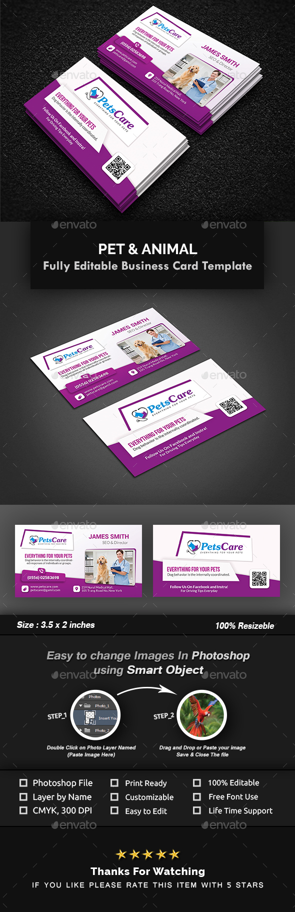 Pet Care Business Card Template by Creative-Touch | GraphicRiver