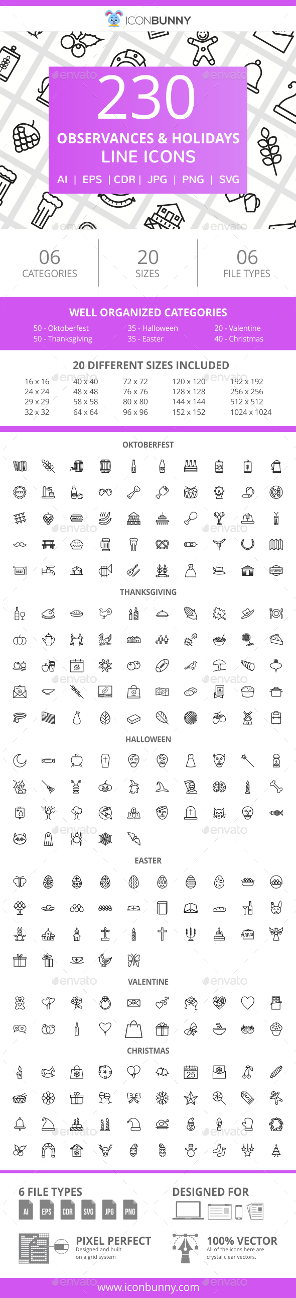GraphicRiver 230 Observances & Holiday Line Icons 20990060