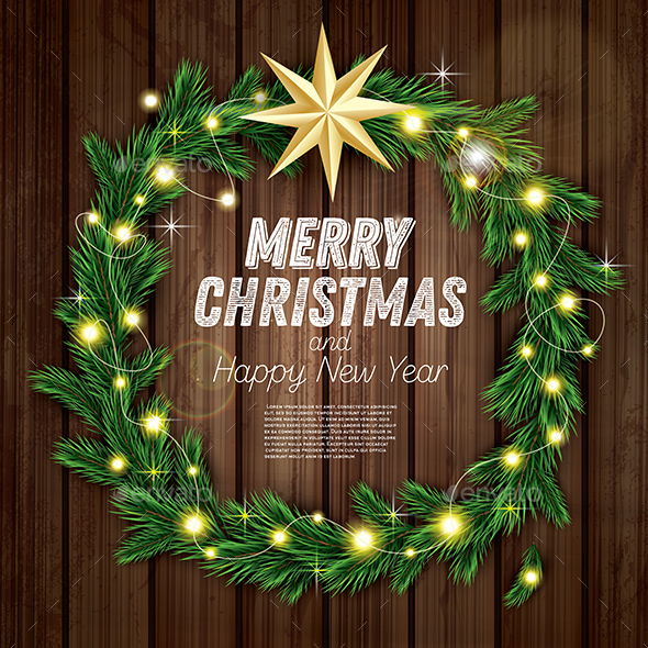 GraphicRiver Christmas Wreath with Green Fir Branch 20990110