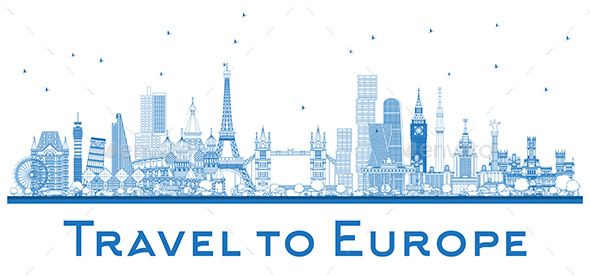 Outline Famous Landmarks in Europe - Buildings Objects