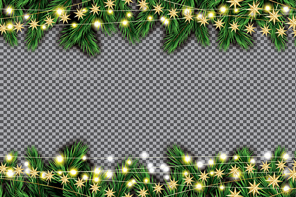 Fir Branch with Neon Lights and Golden Stars on Transparent Background. - Christmas Seasons/Holidays