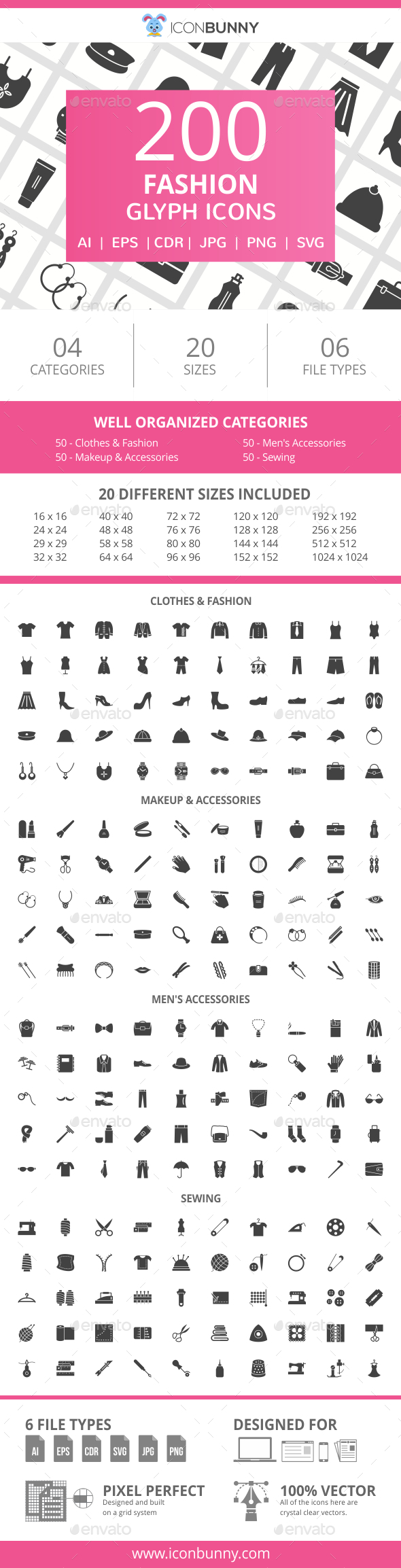 200 Fashion Glyph Icons - Icons