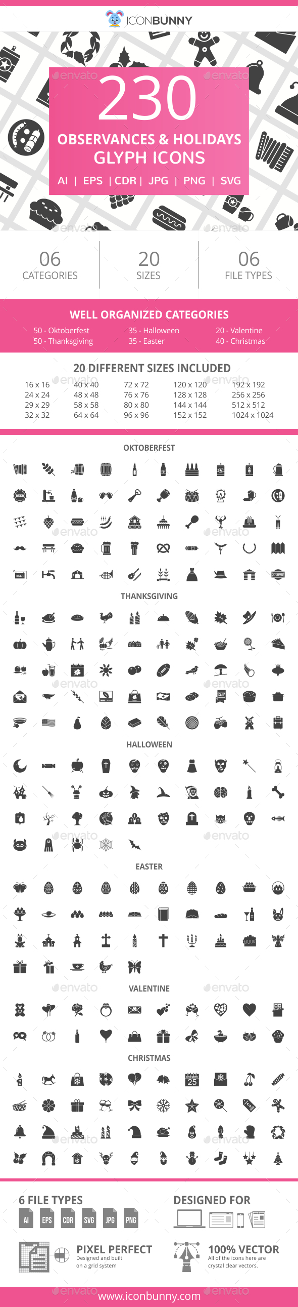GraphicRiver 230 Observances & Holiday Glyph Icons 20990140