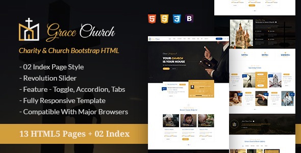 ThemeForest Grace Church Charity & Church Bootstrap HTML Template 20990239