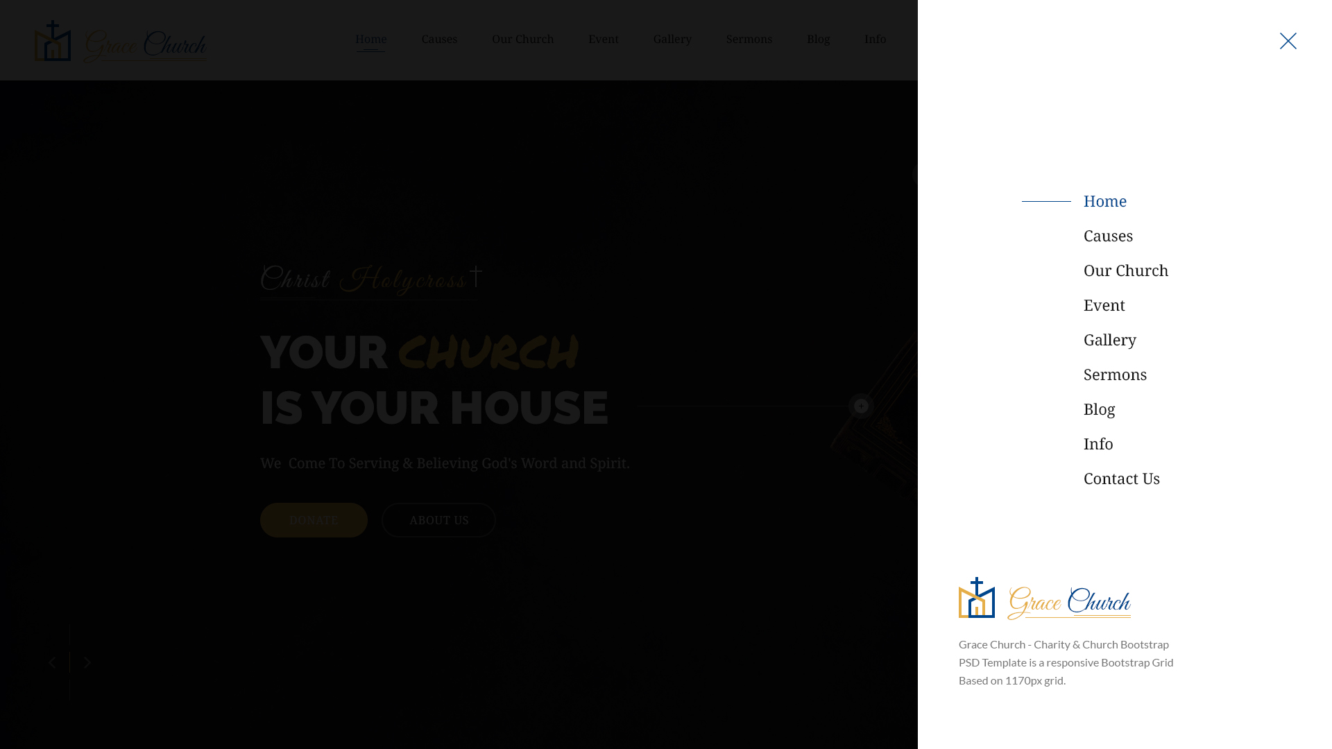 Grace church charity church bootstrap html template by for Html side menu bar template