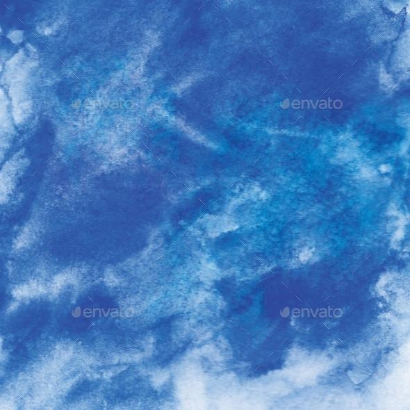 GraphicRiver Indigo Blue Watercolor Background 20990247