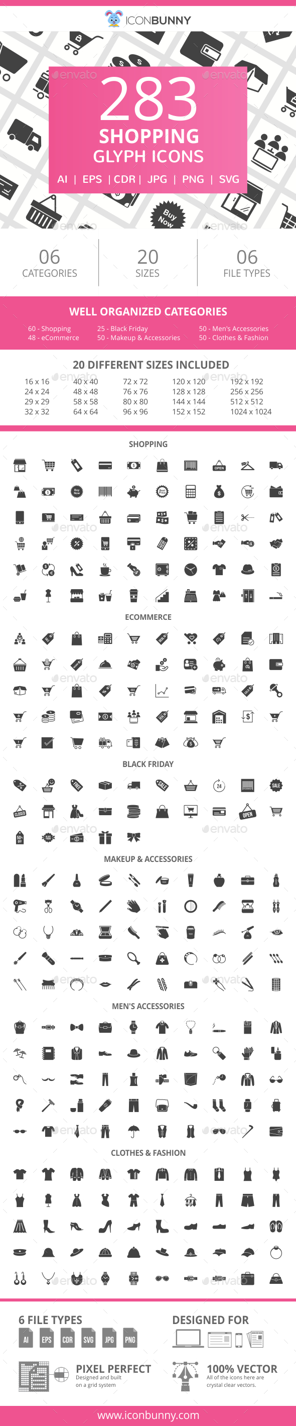 GraphicRiver 283 Shopping Glyph Icons 20990262