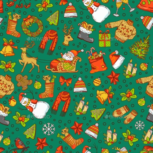 GraphicRiver Vector Hand Drawn Colored Christmas Elements 20990486