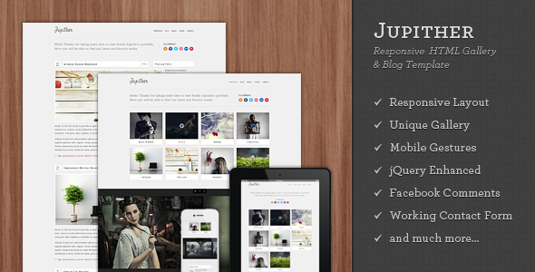 Jupither – Responsive HTML Gallery & Blog Template