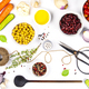 Colorful food ingredients on white background - PhotoDune Item for Sale