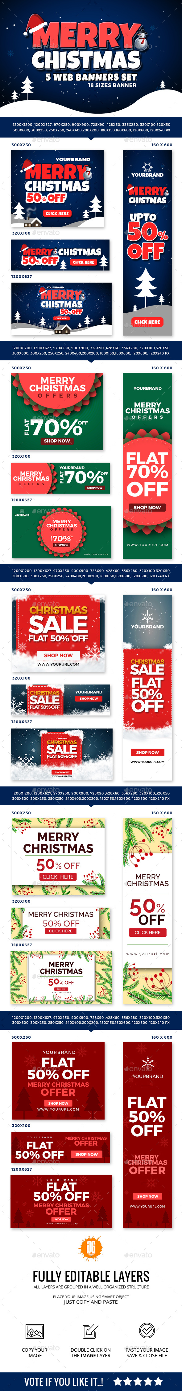 90 Christmas Web Banners - Banners & Ads Web Elements