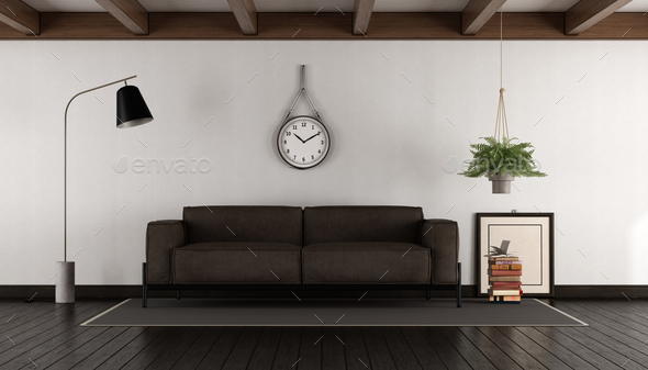 Living room with brown sofa - Stock Photo - Images