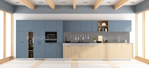 Modern wooden and purple kitchen - Stock Photo - Images