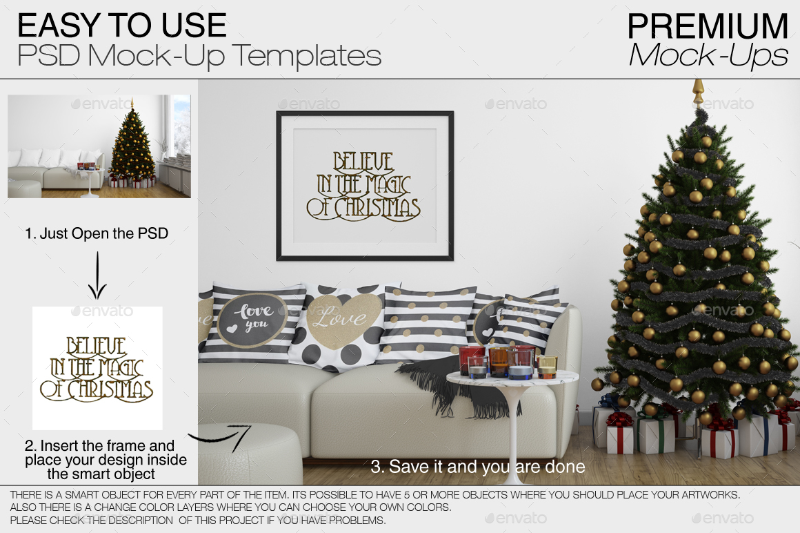 Christmas Pillows & Frames Pack by mock-ups | GraphicRiver