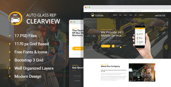 ClearView - Auto Glass Repair, Replacement and Window Tinting PSD Template - Business Corporate