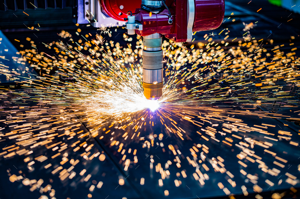 CNC Laser plasma cutting of metal, modern industrial technology. - Stock Photo - Images