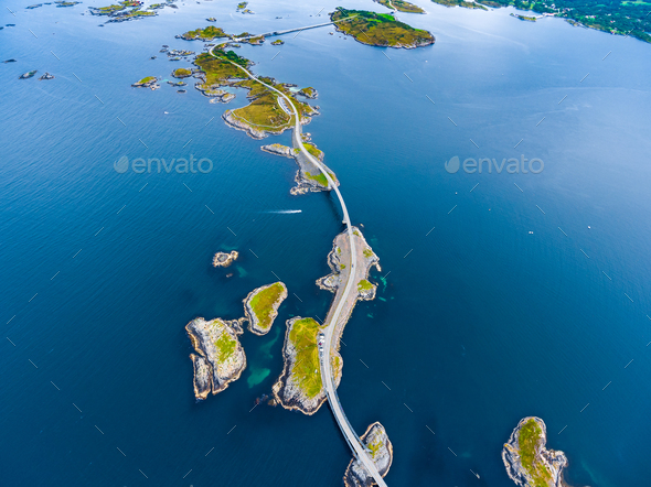 Atlantic Ocean Road aerial photography. - Stock Photo - Images