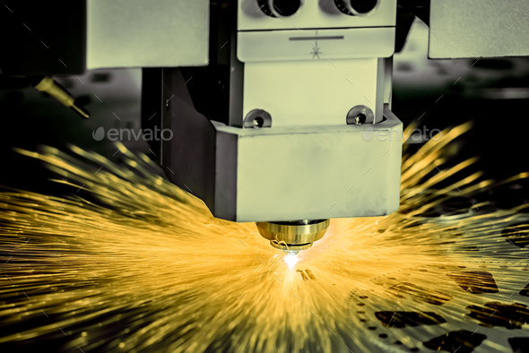 CNC Laser cutting of metal, modern industrial technology. . - Stock Photo - Images