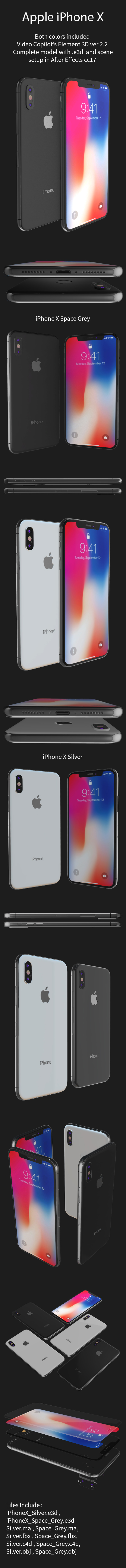 iPhone X 3D | Cinema 4D + Element 3D - 3DOcean Item for Sale