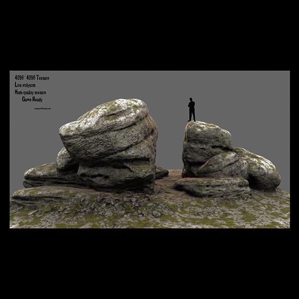 mossy rock - 3DOcean Item for Sale
