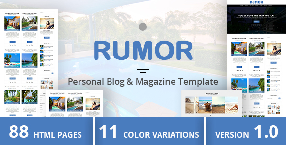 ThemeForest RUMOR Personal Blog & Magazine Template 20202789