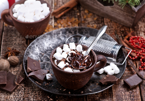 chocolate with marshmallow - Stock Photo - Images