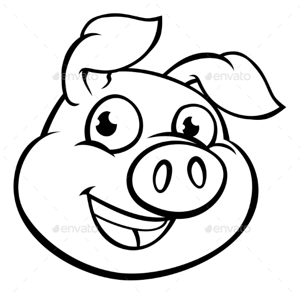 GraphicRiver Cartoon Pig Mascot Character 20991348