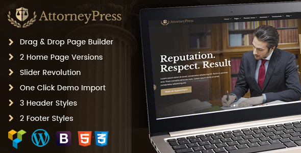 AttorneyPress | Lawyer and Law Firm WordPress Theme - Business Corporate