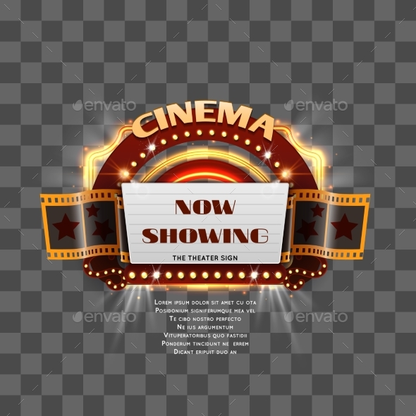 GraphicRiver Vintage Cinema Sign Isolated 20991540