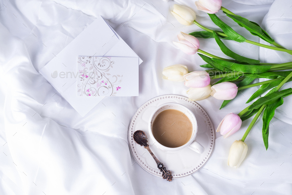 Pink tulips and coffee cup - Stock Photo - Images