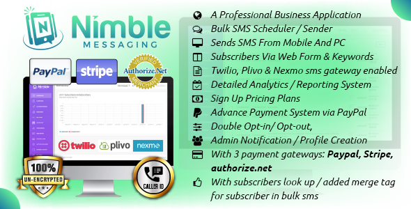 Nimble Messaging Business Mobile SMS Marketing Application For Android - CodeCanyon Item for Sale