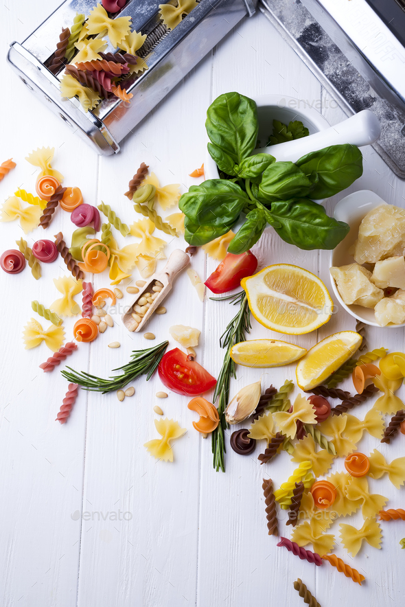 ingredients for cooking pasta - Stock Photo - Images