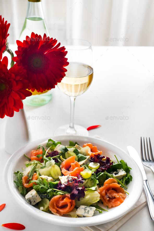Healthy salmon Salad - Stock Photo - Images