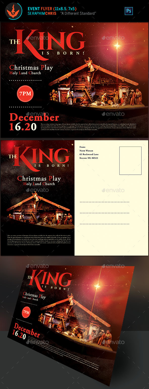 GraphicRiver The King Is Born Church Christmas Flyer Template 20991692