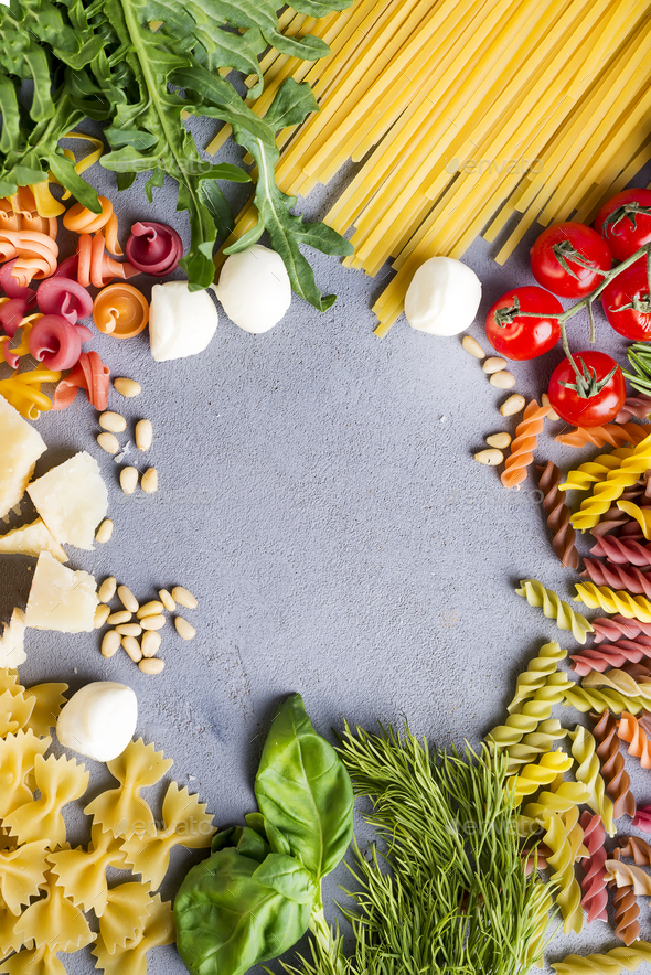 spaghetti with ingredients for cooking pasta - Stock Photo - Images
