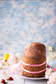 Easter cake and colorful eggs o