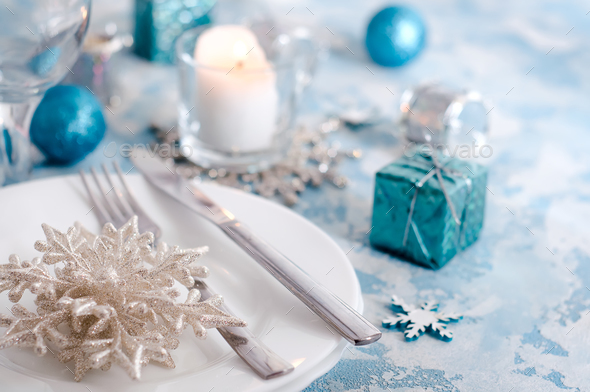 festive table setting for christmas - Stock Photo - Images