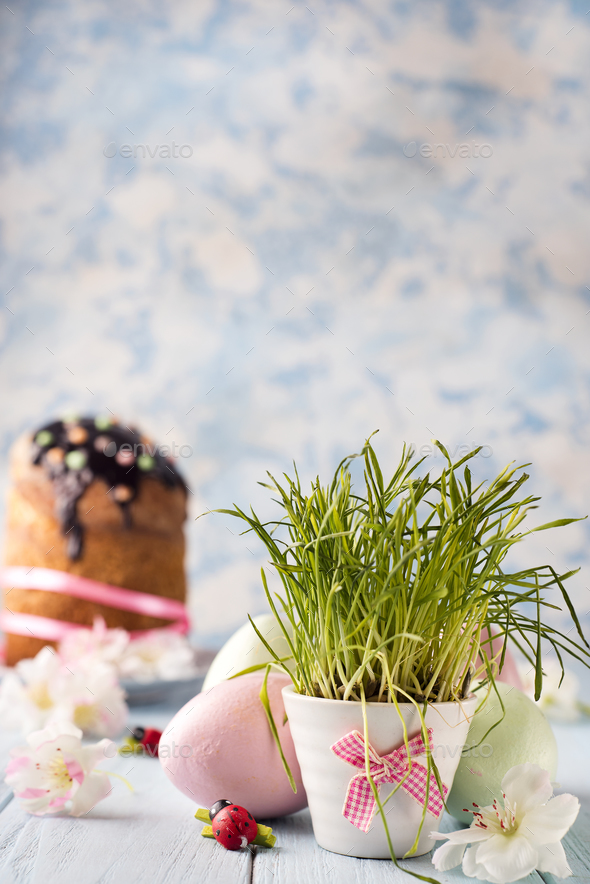 flowerpot with a grass - Stock Photo - Images