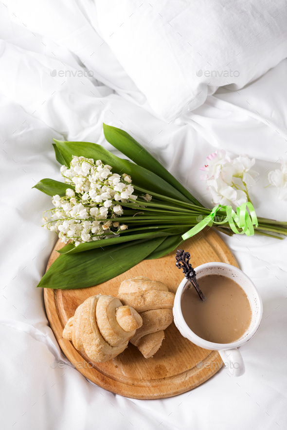 Breakfast in bed Morning - Stock Photo - Images