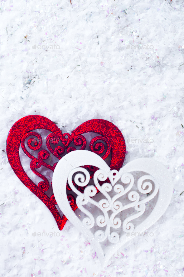 Double heart shape in the snow - Stock Photo - Images