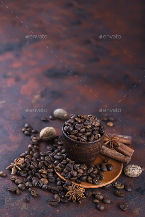 coffe beens with spices - Stock Photo - Images