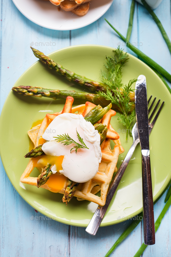 boiled egg and asparagus - Stock Photo - Images