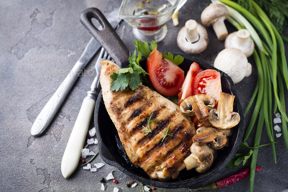 Roast chicken fillet and vegetables - Stock Photo - Images