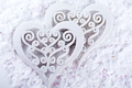 Double heart shape in the snow