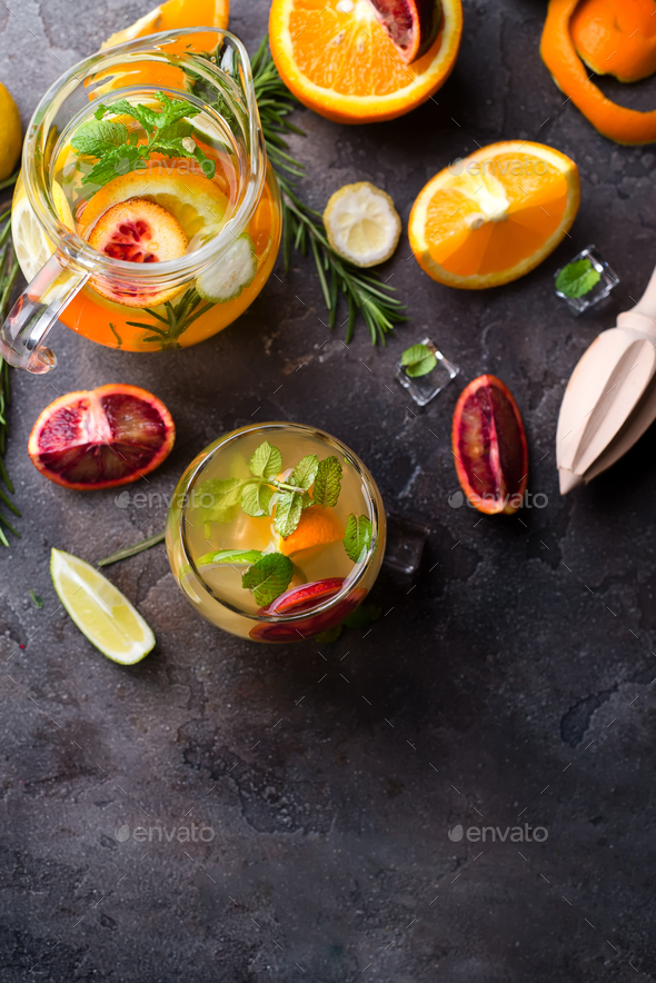 refreshing cocktail with red blood orange, - Stock Photo - Images