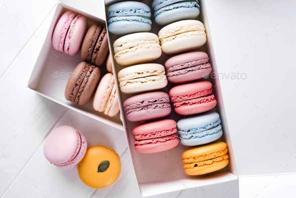 multicolored french macaroons - Stock Photo - Images