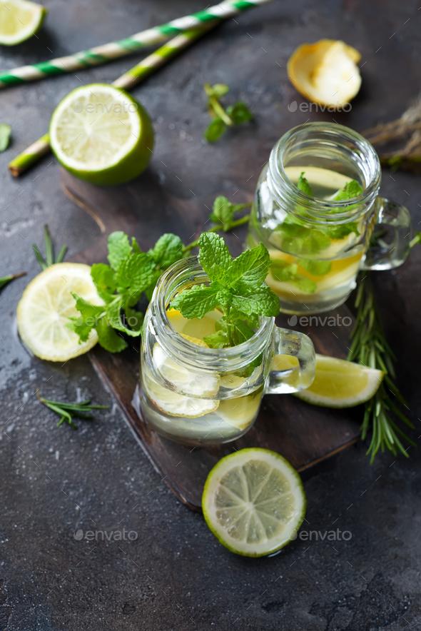 Mojito cocktail in mason jar - Stock Photo - Images