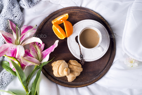 Pink lilies and coffee cup - Stock Photo - Images