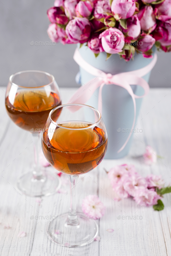 bouquet and wine glasses - Stock Photo - Images